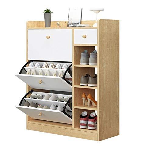 ZJH Gabinete de Zapatos de Donte con Caja de Zapatos con Dos cajones Multi-Capa Casa Sala de Estar Multifuncional Gabinete de Zapatos (Color : Wood Color)