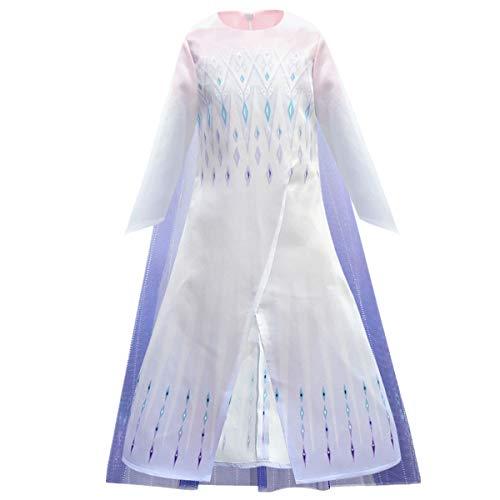 O.AMBW Elsa Disfraz nia Princesa Falda Rosa Azul Blanco gradiente Tul Tul Capa Manga Larga Vestido de Noche Fiesta de Disfraces de Halloween Fiesta Cosplay Disfraces Accesorios Corona Varita mgica
