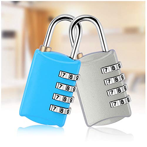 2Pcs Combination Padlock, 4-Digit dial Code Digital Lock, Anti-Rust and Waterproof, Suitable for Luggage, Storage cabinets, toolboxes, etc.