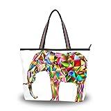 Bolso de hombro para mujer de seda romana de tela de poliéster de primera calidad bolsos de gran capacidad de trabajo de 15 pulgadas bolsa de viaje bolsa casual bolsa de elefante de color abstracto