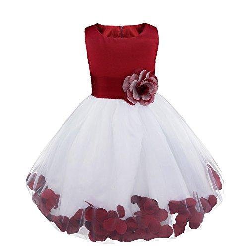 Freebily Vestido Elegante Boda Fiesta con Flores para Niña Vestido Blanco de Princesa para Chica Dama de Honor Vino 14 años