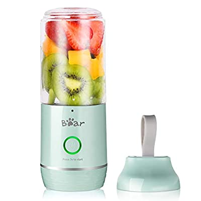 Portable Blender, Bear USB Rechargeable Personal Blender for Shakes and Smoothies, Small Smoothie Single Serve Blender with 11.84oz BPA Free Tritan Blender Cup for Kitchen Home Travel Sports, Blue by