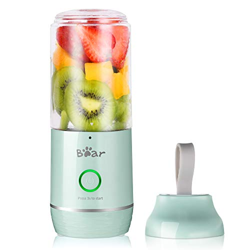 Portable Personal Blenders for Shakes and Smoothies Bear, Mini Smoothie Blenders for Kitchen USB Rechargeable Small Handheld Blenders Juicer Cup with 11.84oz BPA Free Travel Sports Bottle and Lid, Black