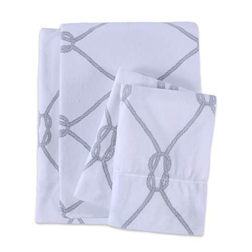 Berkshire Blanket Sailor's Rope Printed Microfleece Set Fleece Sheets Twin Grey
