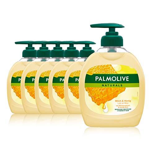 Palmolive Seife Naturals Milch und Honig 6 x 300 ml, für alle Hauttypen, Handseife, Flüssigseife