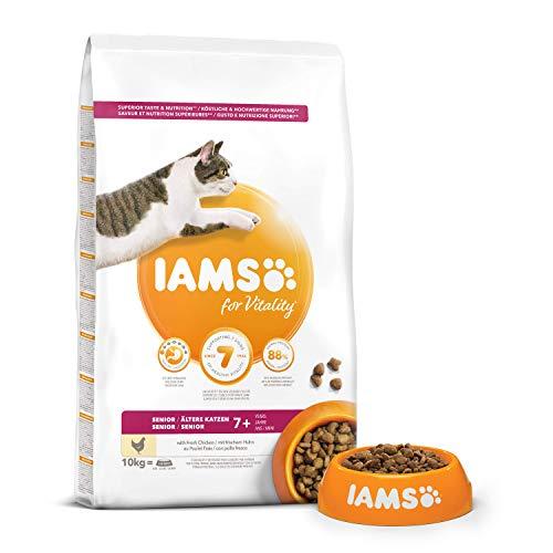IAMS Vitality - Croquettes Premium Chats séniors - savoureuses complètes équilibrées - Favorise Forme et Longévité - Au poulet frais – Sans OGM colorant arôme artificiel - Sac refermable 10 kg