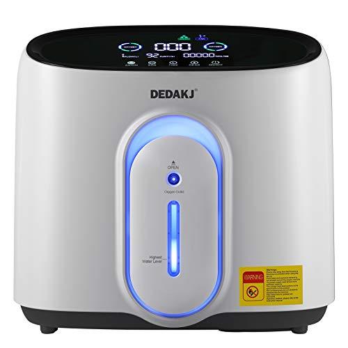 DEDAKJ 1-8L / min Concentratore di ossigeno a flusso Generatore O2 Purificatore d'aria domestico intelligente portatile 93% di elevata purezza AC 220V Telecomando per uso domestico e da viaggio