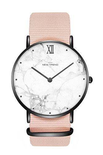 New Trend Unisex Armbanduhr Damen-Uhr Herren-Uhr, Analog Display, Quarzwerk, Mesh-Armband, NATO-Armband, Chronograph-Optik, mit Dornschließe, Marmor-Muster