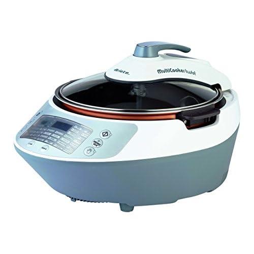 Ariete 2945 Multicooker Twist Pentola Multifunzione Cuocivivande con Pala Mescolatrice, Display LCD, 30 Programmi Preimpostati, Cestello 5 L, Ricettario, Bianco/Grigio