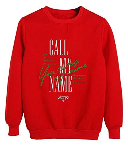 SXhyf GOT7 Mercancía Llame a mi Nombre PeripheralNew Ropa Jersey KPOP Sudadera, el Mejor Recuerdo (Color : Red, Size : S)