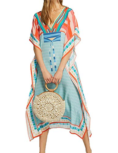 Bsubseach Loose Batwing Sleeve Multicolor Colorblock Beach Robe Kaftan Dress Women Deep V Neck Long Swimsuit Cover Up Orange Blue