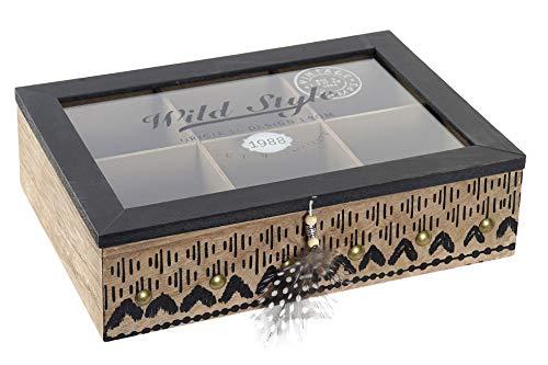 Space Home - Caja para Bolsitas de Té - Caja para Infusiones - Almacenaje de Cocina - 6 Compartimentos
