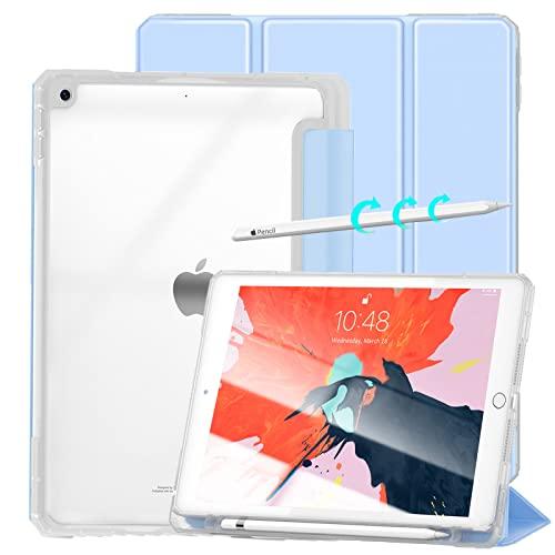 Gahwa Funda para iPad 10,2 Pulgadas (2021/2020/2019 Modelo, 9.ª/8.ª/ 7.ª Generación), Tríptico Case con Función Soporte Auto-Sueño/Estela, Carcasa Ligera con Soporte Incorporado de Pencil - Azul