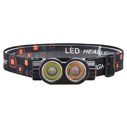 OUCRIY Antorcha LED recargable por USB, con correa para la cabeza, faro superbrillante, resistente al agua, para mecánicos, trabajadores de la construcción
