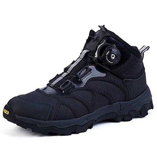 emansmoer Herren Wasserdicht Atmungsaktiv Outdoor Sport Klettern Wandern Trekking Stiefel High-top Armee Combat Schuhe (44 EU, Schwarz)