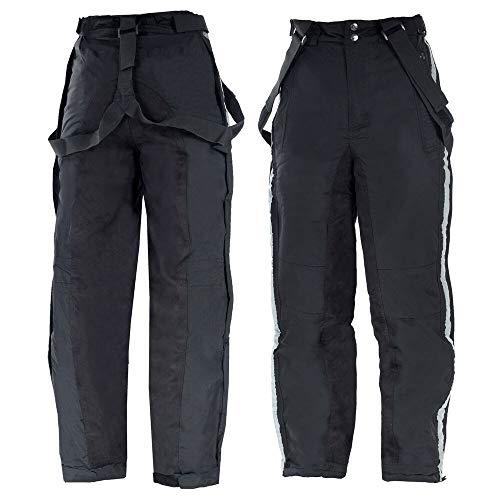 Horze Pantalones de equitación unisex para invierno, acolchados, bolsillos con cremallera, rayas reflectantes para visibilidad, tirantes extraíbles, pantalones con forro grueso para mayor calidez, color negro, todas las tallas Negro 46-48