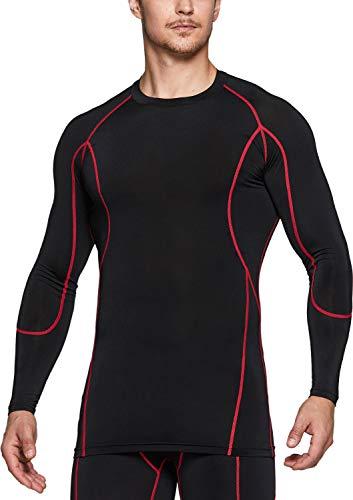 TSLA Dri Fit Kompressionsunterwäsche Athletischer Langarm T-Shirt für Herren, Mud31 1pack - Black & Red, XXL