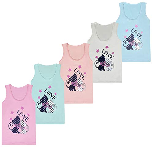 LOREZA ® 5 Stück Mädchen Baumwolle Unterhemden Tank Top Kinder ärmellos Verschiedene Motive (116-122, Modell 2)