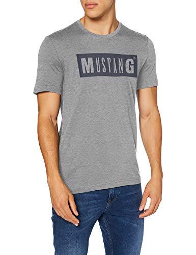 MUSTANG Herren Alex C LOGO Tee T-Shirt, Grau (Mittelgrau 4140), M
