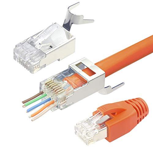 VCELINK 2.ª generación 20 Unidades Conectores RJ45 Cat 7 Cat6A Blindado Pasante Pass Through Para Cable de Red Cat7 Cat6A con Guía y Funda de Cable Naranja