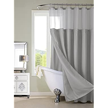 Dainty Home CSCDLGR Waffle Shower Curtain Complete Shower Curtain,Gray