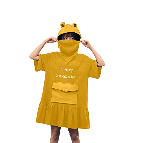 BOIYI Novelty Frog Hoodie Big Pouch Sweatshirt Blanket, Cute Letters Printed Zip up Green Hooded Oversized Super Soft Cozy Comfortable Giant Hoody, Fit for Men Women Teens(Yellow,S)