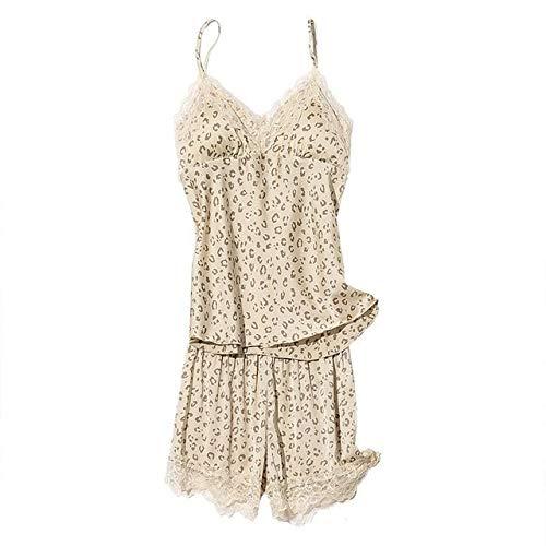 HUANSUN Conjunto de Pijamas de satén de 5 Piezas, Albornoz de Encaje, Vestido de Kimono de Leopardo, Ropa de Dormir para Mujer