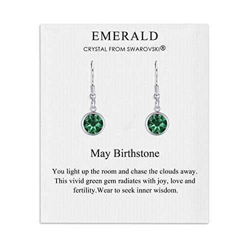 May Birthstone Drop Earrings Created with Emerald Austrian Crystals