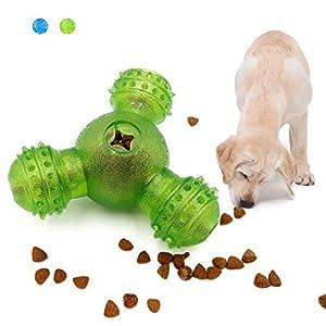 WishLotus Jouet interactif pour chien, distributeur de friandises pour chien, distributeur de nourriture pour chien, jouet à mâcher en caoutchouc résistant aux morsures et balle de nettoyage des dents pour chiens de petite et moyenne taille