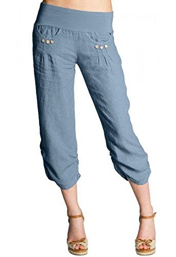 Caspar KHS017 Damen 3/4 Leinen Hose, Farbe:Jeans blau, Größe:XXL - DE44 UK16 IT48 ES46 US14