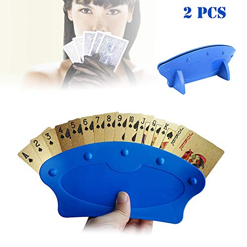 Vientiane Soporte para Juego de Cartas, 2 Piezas Artefact de Naipe, Plastic Poker Rack Juego de Cartas Titular, Diseño Curvado Soporte de Poker, para Niños o Personas con Artritis, Herido en La Mano