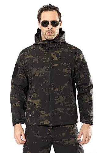 YEVHEV heren outdoorjassen waterdichte tactische mantel lange mouwen met capuchon en 6 zakken militaire fleece jacks tactische militaire mantel voor outdoor activiteiten