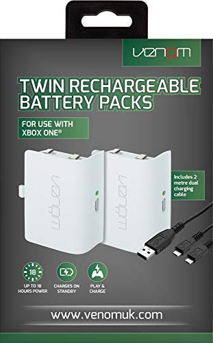 Venom - Twin Rechargable Battery Packs Con Cubiertas - Blanco (Xbox One)