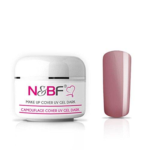 N&BF Make Up UV Gel 15 ml dunkelrosa milchig | Camouflage Gel mittelviskos | Made in EU | Covergel für Babyboomer und French | Abdeck Gel rosa selbstglättend + säurefrei | Nagelgel deckend