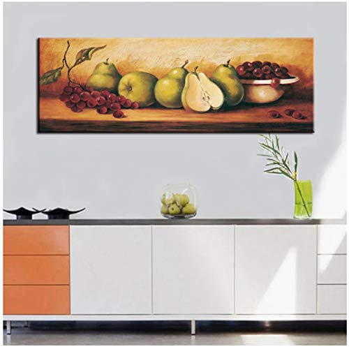 Classic Canvas Painting Fruits on the Table Digital Printed Poster Wall Painting Picture for Dining Room Home Decoration