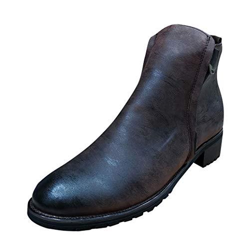 Herren Leder Stiefelette Moderne Chelsea-Stiefelette Retro Boots aus Glattleder mit Blockabsatz Gummisohle Schuhe Herrenschuh Hohe Stiefel Lederschuhe mit Reißverschluss 39-48 TWBB