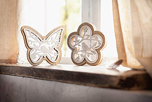 Deko-Figuren Blume & Schmetterling aus Holz, Natur + weiß, Frühlingsdeko, Holzdeko