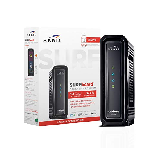 ARRIS SURFboard (32x8) Docsis 3.0 Cable Modem, Certified for Xfinity, Spectrum, Cox,...