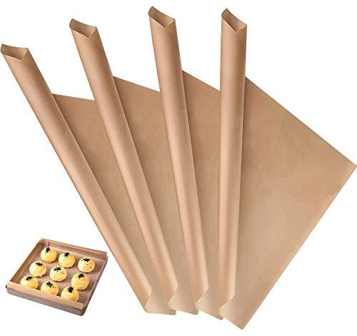 4 Piezas Papel Horno Reutilizable, 40 x 60 cm Hojas para Hornear de Fibra de Vidrio para Horno Microondas Horno - Marrón