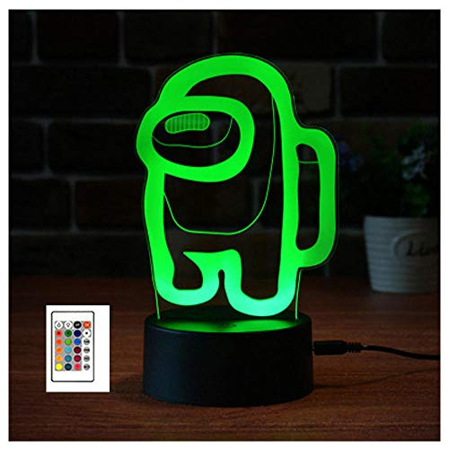 Lámpara de ilusión 3D entre la luz de la noche de la lámpara . Para niños, 16 colores que cambian lámpara escritorio mesa táctil para decoración del hogar y los regalos, control remoto-Base negra_7