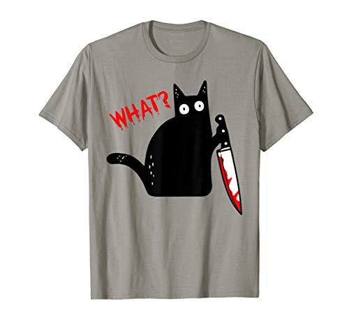 Lustige schwarze Katze mit Messer - schwarze Katze WAS? T-Shirt