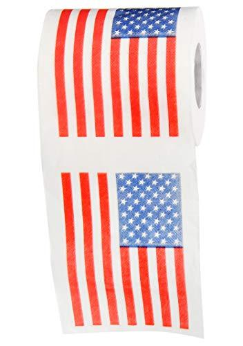 HOME-X American Flag-Themed Toilet Paper, 3 Ply bathroom Tissue Roll, Novelty White Elephant Gift