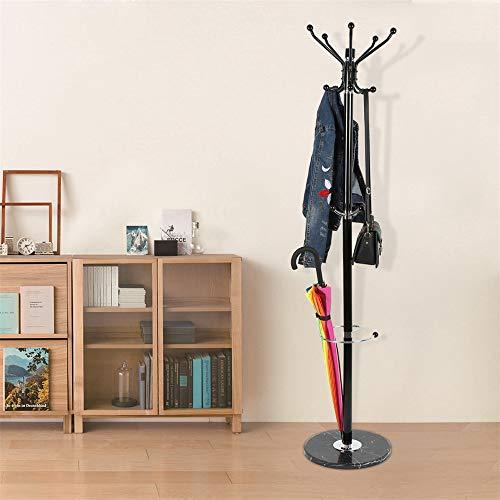Turefans Porte-Manteau,173.5cm,Acier Inoxydable, Socle en marbre, Crochets Multiples, vêtements Suspendus, Chapeau, Parapluie, Noir