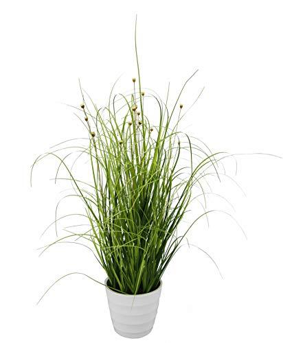 Flair Flower Grasbusch im weißen Topf, Kunstpflanze, Kunstgras, Ziergras, Grün, Kunstpflanzen, Dekogras, Grasbüschel, Grasbündel, Ziergras, getopft, Deko Bündel, Grasarrangement, 45 cm