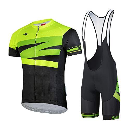 Santic Body da Ciclismo da Uomo Abbigliamento Ciclismo Completo Estivo Maglia Maniche Corte Salopette Asciugatura Rapida Traspirante per MTB Spinning Squadra Professionale