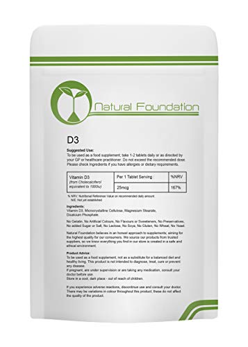 Vitamin D3 Tablets 1000iu Bone Teeth Brain and Nervous System | Natural Foundation Supplements (120 Tablets)