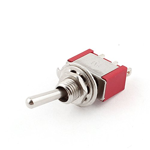 Aexit AC 250V/2A Shaft Collars 120V/5A SPDT ON/ON 5.7mm Thread Toggle Heat Shrinkable Shaft Collars Switch Red