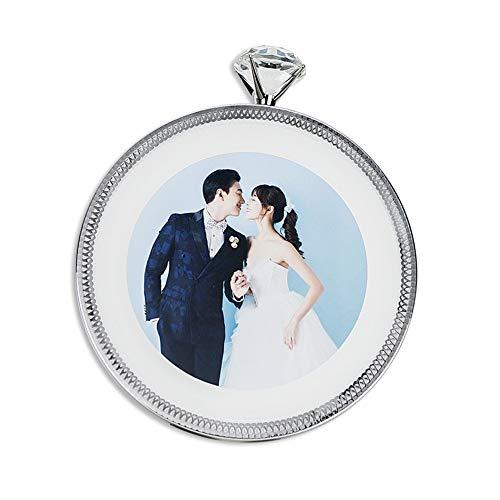 AIFUSI Runden Bilderrahmen, Silber 14,5x14,5 cm Glitzer Diamant Hochzeit Fotorahmen Babyfotos Geburtstag Geschenk