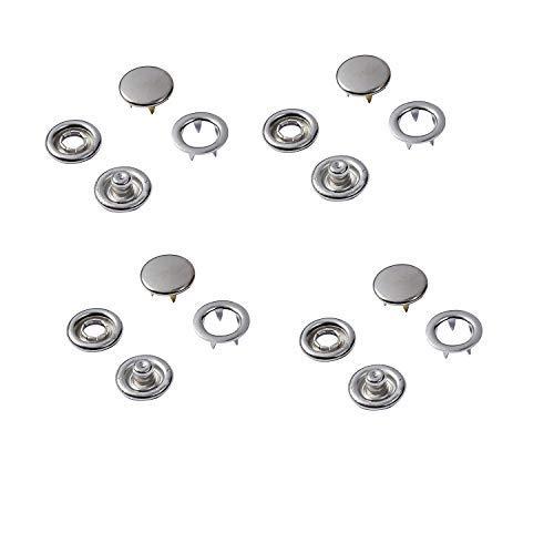 Weddecor 10mm - 12mm Jersey Cap drukknopen nikkelvrij massief messing drukknopen bevestigingsmiddelen voor leathercraft, naaien, jas, overhemd, baby slabbetjes, zilver, 10 sets