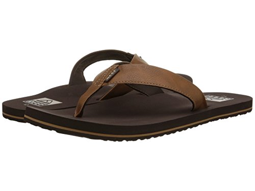 Reef Men's Sandal Twinpin | Comfortable Men's Flip Flop With Vegan Leather Upper, Brown, 12